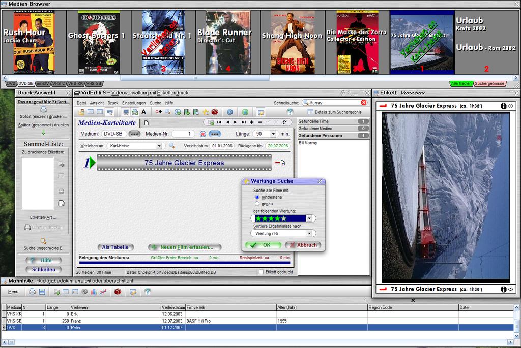 VidEd -- Videoverwaltung m. Etikettendr.
